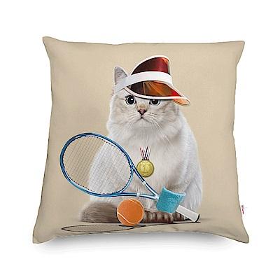 法國數位藝廊 貓貓抱枕/靠墊-網球甜心(米白)-含芯40x40