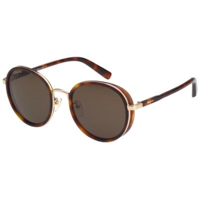 Salvatore Ferragamo 韓版圓框 太陽眼鏡 (琥珀配金)