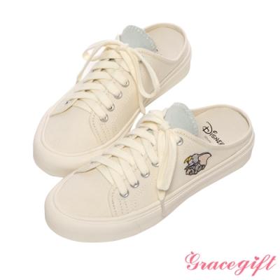 Disney collection by grace gift-迪士尼小飛象後空帆布休閒鞋 藍灰