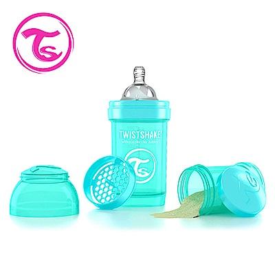 Twistshake瑞典時尚 彩虹奶瓶/防脹氣奶瓶180ml/奶嘴口徑0.3mm-土耳其藍