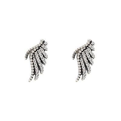 Pandora 潘朵拉  閃耀鑲鋯羽毛造型 純銀耳環