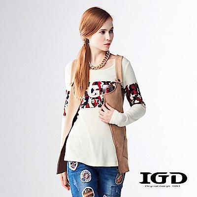 IGD英格麗 麂皮口袋吊帶背心-卡其