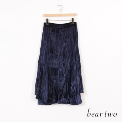 beartwo 細絨感變化造型層次長裙-藍