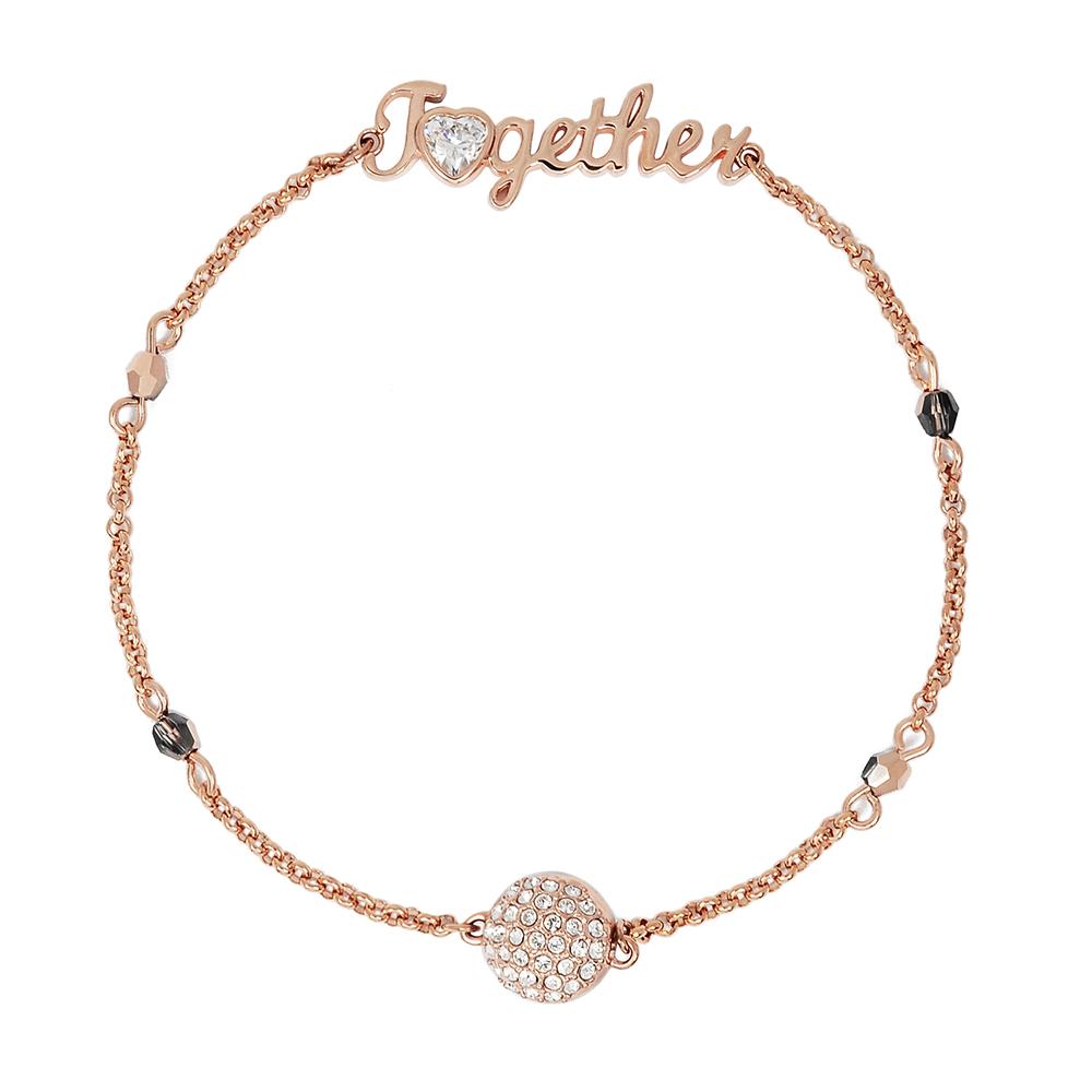 SWAROVSKI 施華洛世奇 璀璨Together字母水晶墜飾玫瑰金磁扣式手鍊手環
