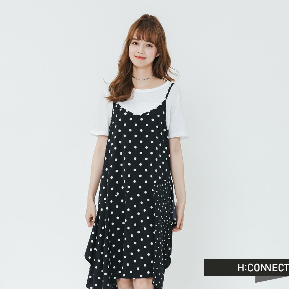 H:CONNECT 韓國品牌 女裝-特色裙擺點點細肩洋裝-黑