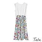 蕾絲背心花草印花洋裝(附綁帶) TATA