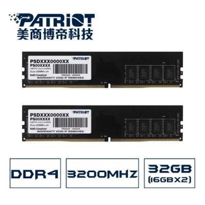 Patriot美商博帝 DDR4 3200 32GB(2x16G)桌上型記憶體