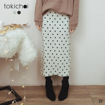東京著衣 氣質姐姐腰鬆緊後開岔磨毛針織長裙(共二色)