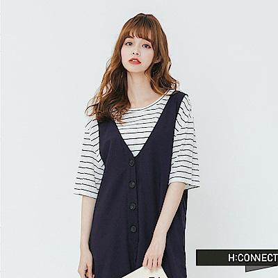 H:CONNECT 韓國品牌 女裝-簡約排扣連身寬褲-藍
