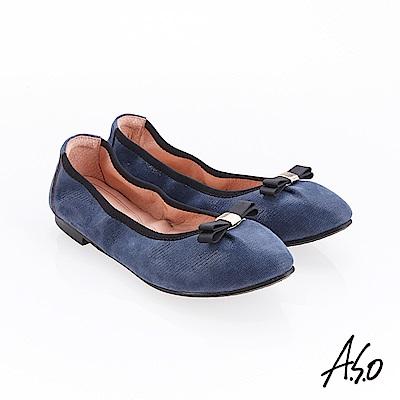 A.S.O 輕履鞋 蝴蝶結羊絨皮可折疊娃娃鞋-深藍
