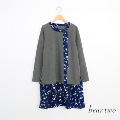 beartwo-假兩件碎花下擺洋裝-灰