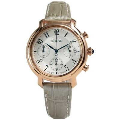 SEIKO 精工 雅典娜 三環 計時 皮革腕錶-白x玫瑰金/34mm