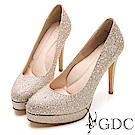 GDC-燦目水鑽閃亮女王水台高跟鞋(婚鞋)-金色