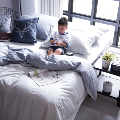 OLIVIA  諾亞 淺灰X灰  標準單人床包冬夏兩用被套三件組 200織精梳純棉