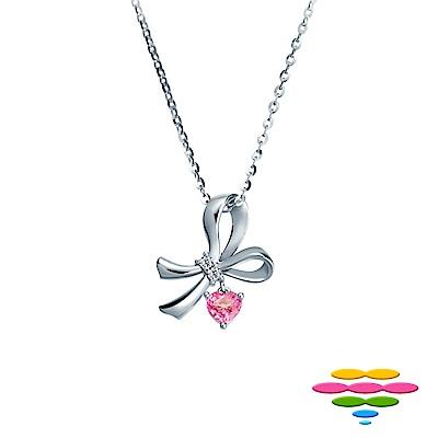 彩糖鑽工坊 愛心粉紅寶石&鑽石項鍊 蝴蝶結項鍊 蘿莉塔系列 (日本10K輕珠寶)