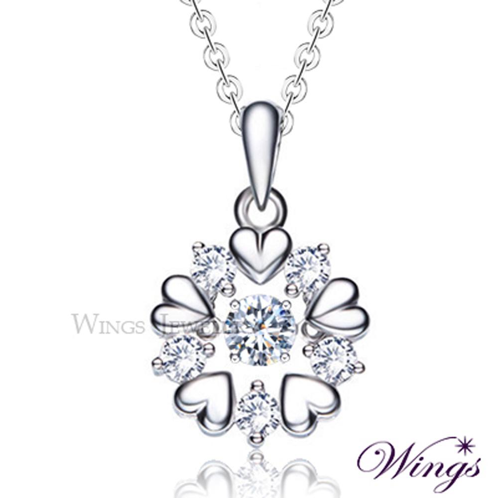 Wings 燦動系列 櫻吹雪 925純銀精鍍白K金八心八箭鋯石項鍊 會閃動的寶石