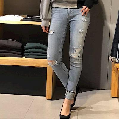 Levis 女款 711 中腰緊身窄管牛仔長褲 亞洲版型 破壞細節