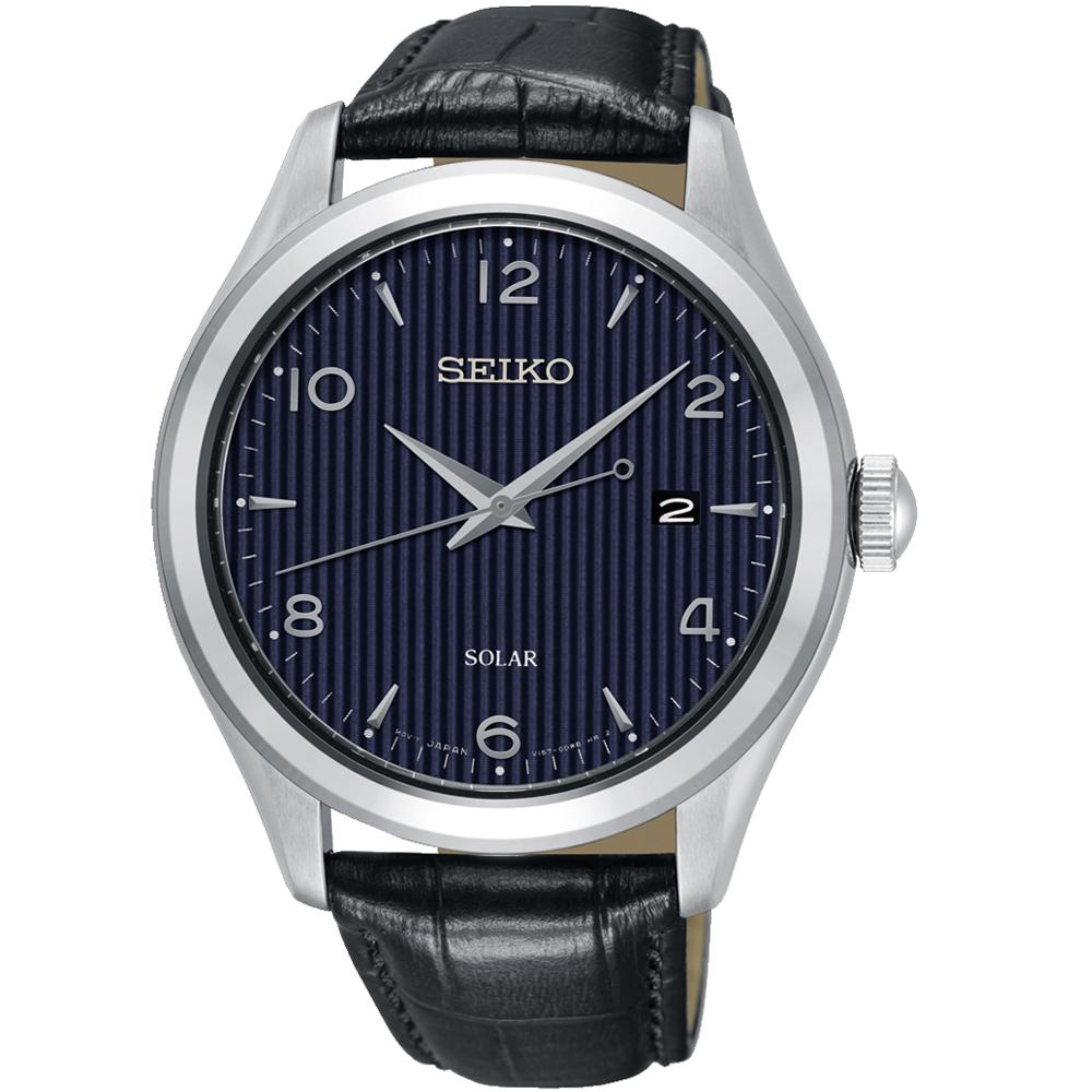 SEIKO 精工 時尚太陽能紳士錶(SNE491P1)42mm