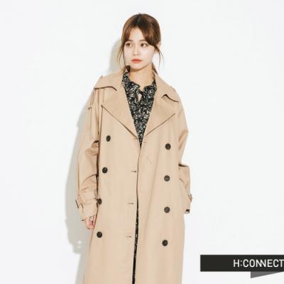 【周慶限量款】H:CONNECT 韓國品牌 女裝-帥氣翻領雙排釦風衣-卡其