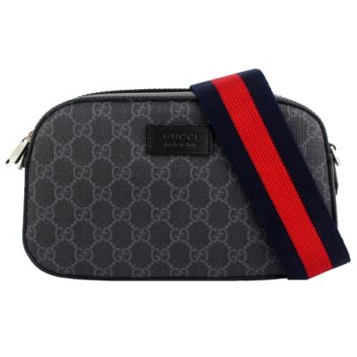 GUCCI GG Superme 灰黑色標誌黑紅色織帶帆布斜背包