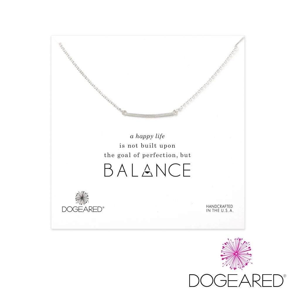 美國DOGEARED 方形銀條純銀祈願項鍊 Balance Medium Square Bar Necklace