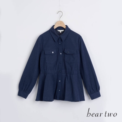bear two- 收腰素色磨毛襯衫 - 藍