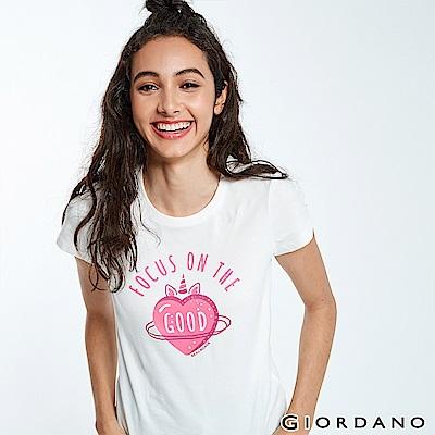 GIORDANO 女裝夢幻獨角獸系列印花T恤-42 皎雪