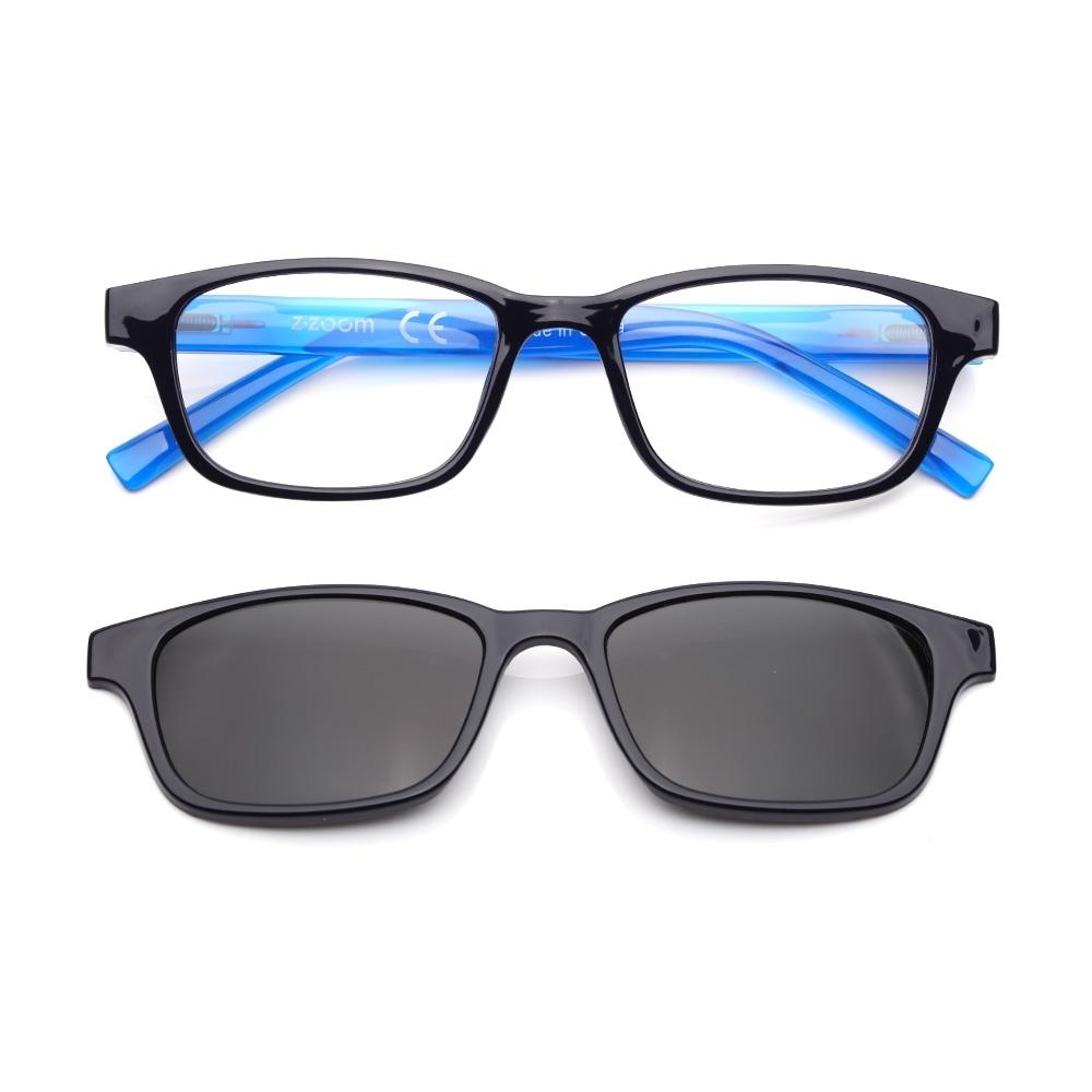 【 Z·ZOOM 】老花眼鏡 磁吸太陽眼鏡系列 時尚矩形粗框款(黑框藍身)