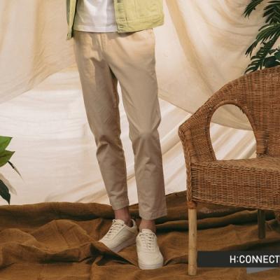 H:CONNECT 韓國品牌 男裝-純色百搭鬆緊Straight直筒褲-卡其色