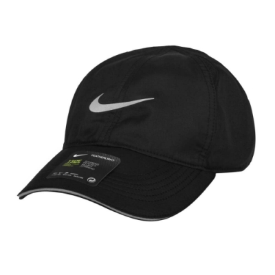 NIKE 運動帽-台灣製 反光 帽子 遮陽 防曬 DRI-FIT 慢跑 AR2028-010 黑銀