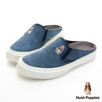 Hush Puppies 咖啡紗穆勒休閒鞋-深藍