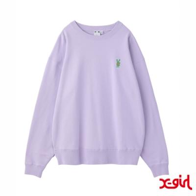 X-girl BUNNY EMBROIDERY CREW SWEAT TOP大學T-紫