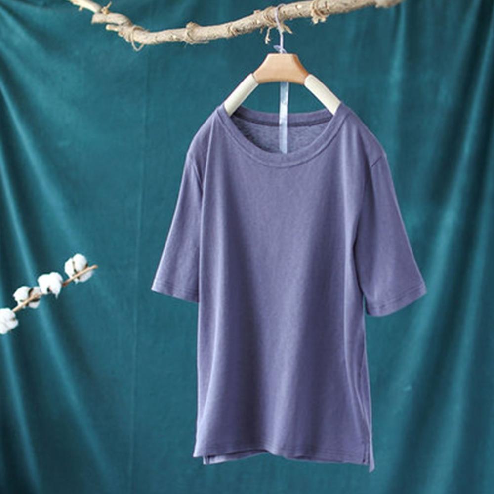 單色棉麻圓領T恤寬鬆內搭薄版上衣-設計所在 product image 1