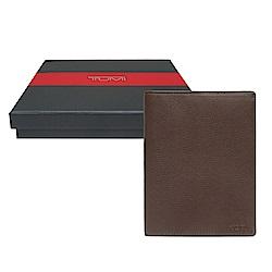 TUMI 簡約牛皮護照夾-深棕色(附原廠禮盒)