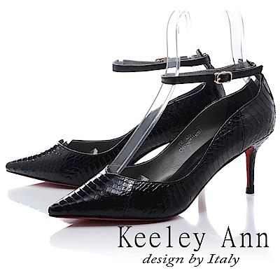 Keeley Ann 韓式風潮~蛇紋波浪造型細帶飾釦真皮高跟鞋(黑色-Ann)