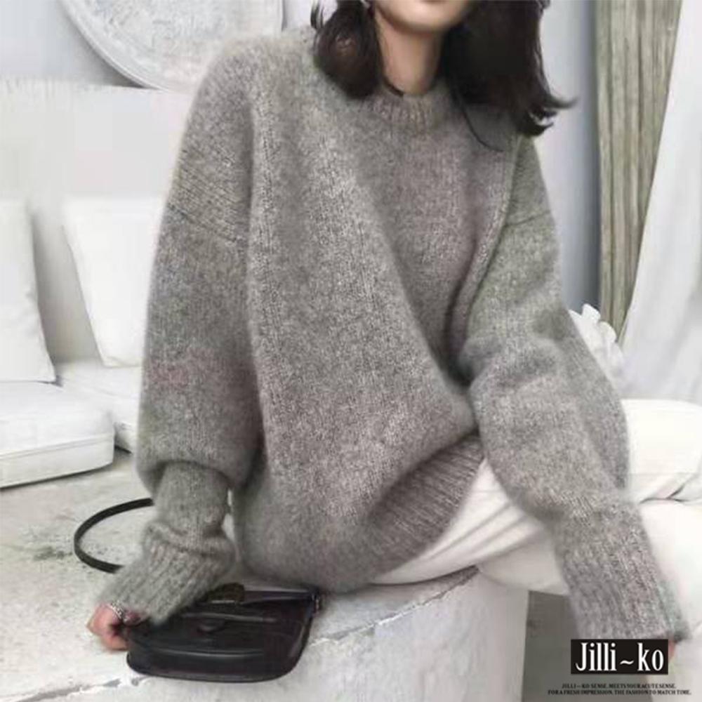 JILLI-KO 落肩厚款寬鬆針織毛衣- 灰/咖啡