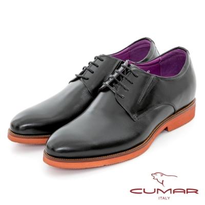 【CUMAR】隱藏增高 舒適真皮綁帶增高鞋-黑