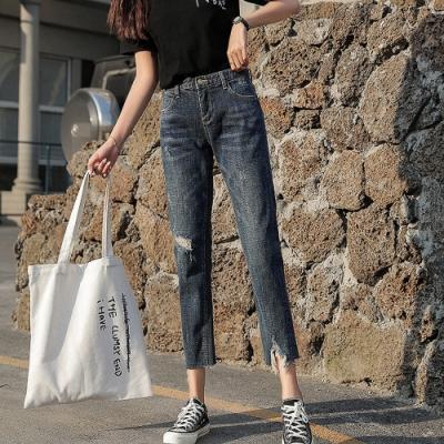 時尚個性刷破不收邊顯瘦牛仔褲L-4XL-KVOLL