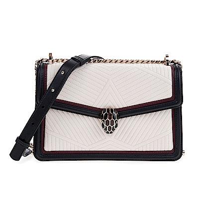 BVLGARI 寶格麗Serpenti系列滑面牛皮骨架絎縫設計琺瑯蛇頭肩背包 (瑪瑙白)