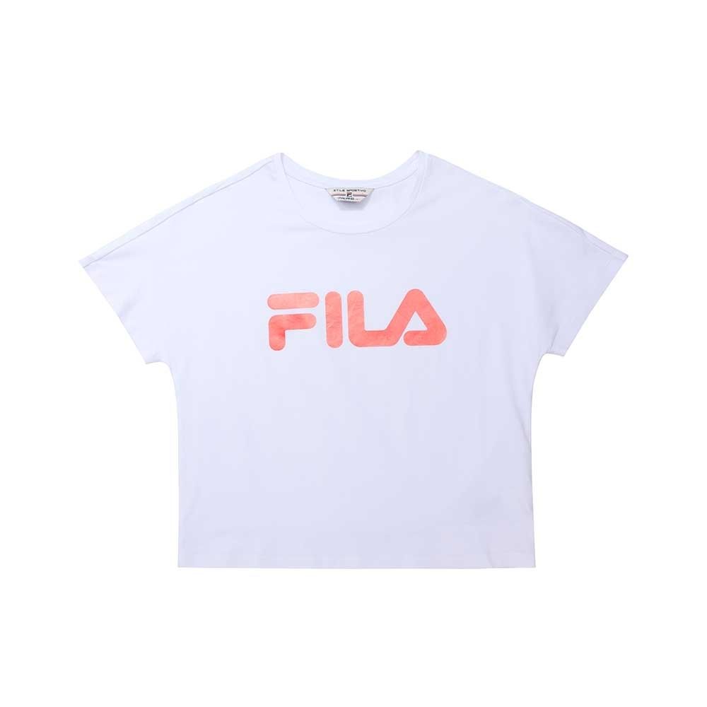 FILA 女短袖圓領T恤-白色 5TEU-1493-WT