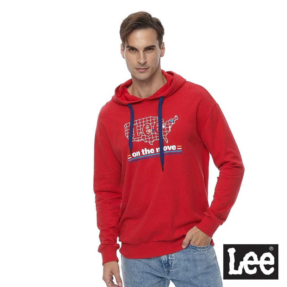Lee 連帽厚T 美國地圖印花logo 男 紅