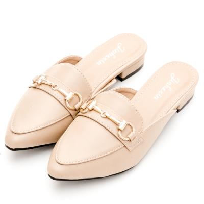 River-Moon穆勒鞋-中大尺碼馬蹄扣低跟尖頭鞋-米杏