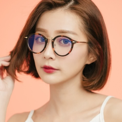 ALEGANT時尚教主潮流琥珀金邊UV400濾藍光眼鏡│提香的斑斕筆觸