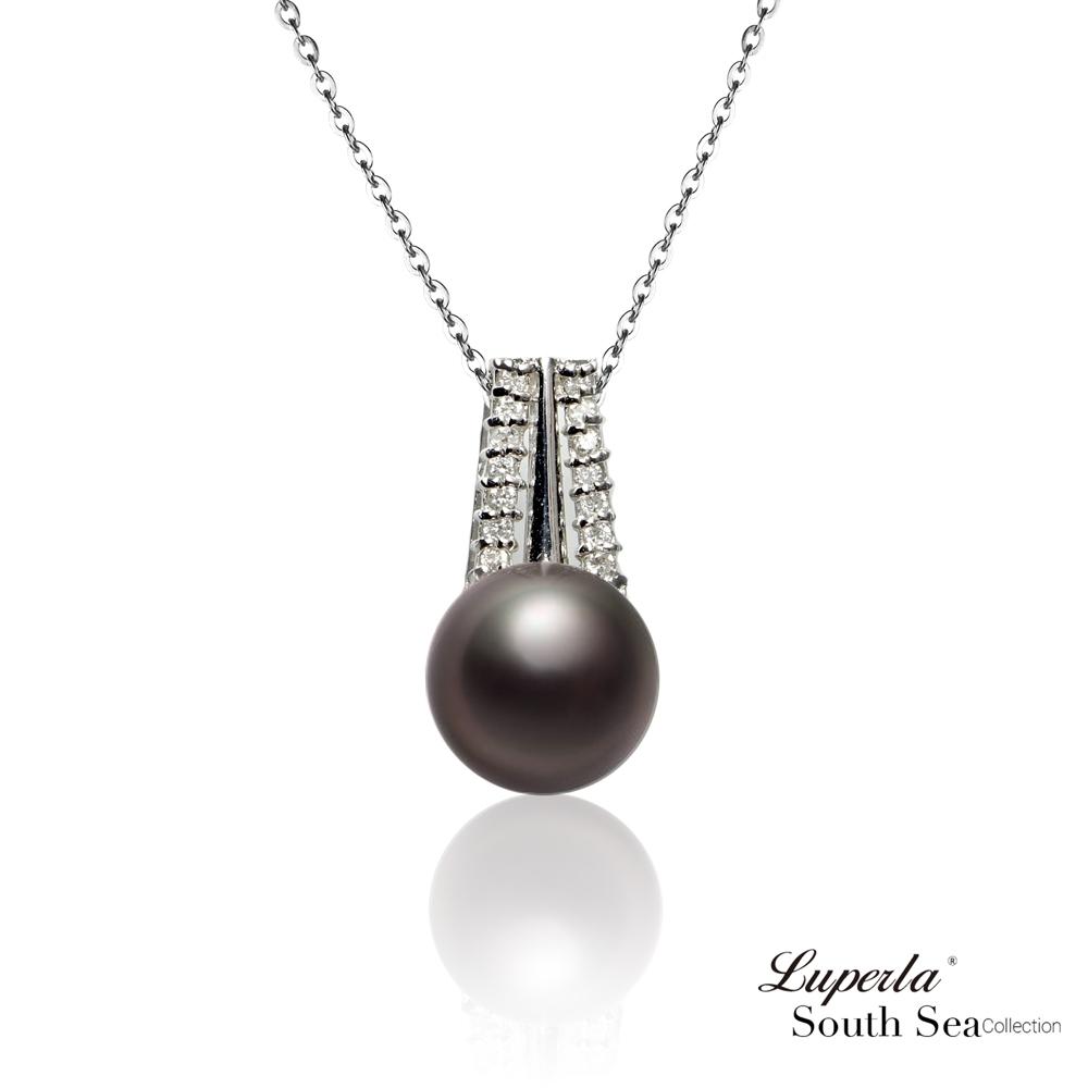 大東山珠寶 大溪地黑珍珠18K白金真鑽項鍊 瑰麗光采