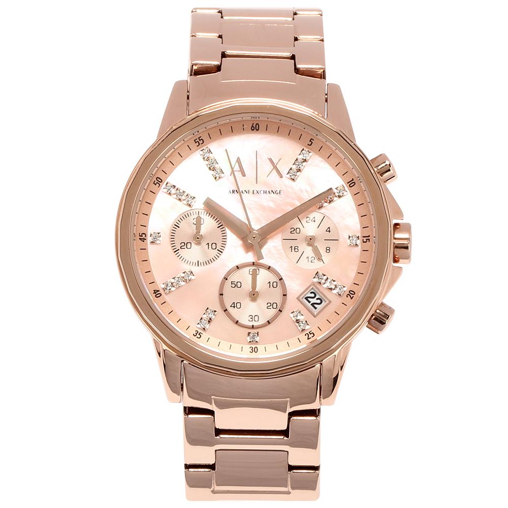 A/X Armani Exchange 時尚鑲鑽鋼帶女腕錶-(AX4326)-35mm