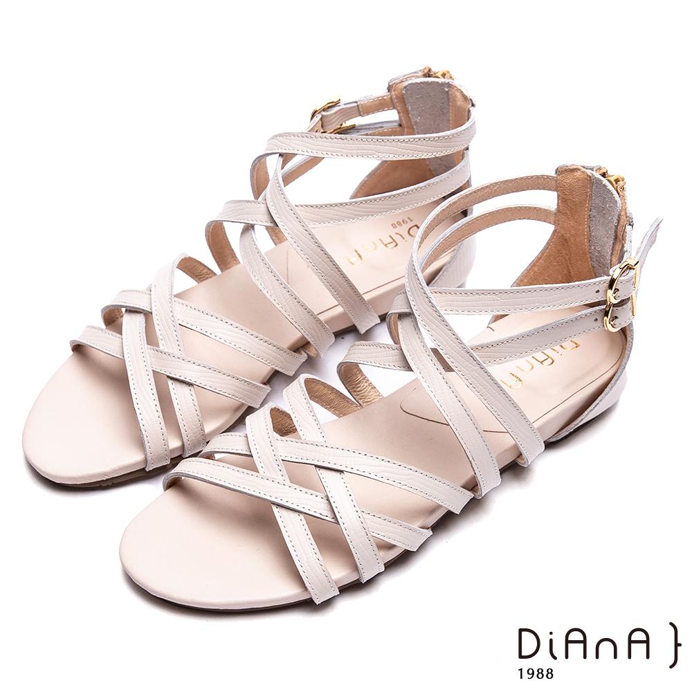 DIANA 羅馬印象—細交叉繞帶後拉鍊涼鞋-米白