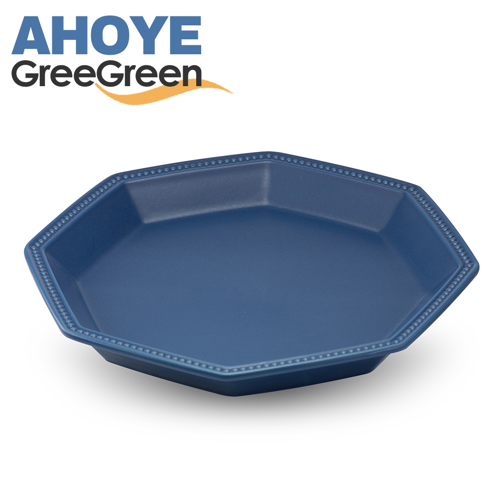 GREEGREEN  匈牙利八角陶瓷點心盤 藏藍 餐盤 盤子 點心盤