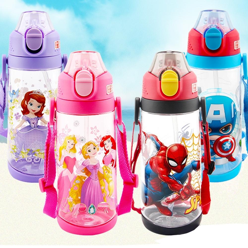 Disney 迪士尼 背帶兒童吸管水壺600ml不含雙酚A