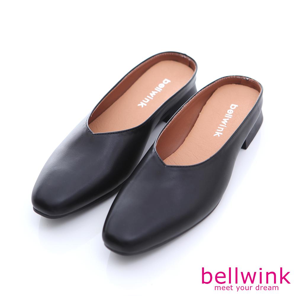 bellwink-圓方頭皮革穆勒拖鞋-黑-b1005bk