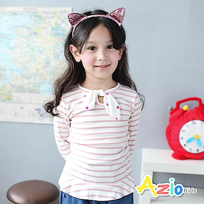 Azio Kids 上衣 蝴蝶結領口荷葉下擺袖口條紋長袖T恤(粉)